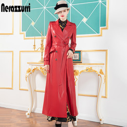 Wholesale leather sleeve trench coat resale online - Nerazzurri Red long leather trench coat for women long sleeve sashes lapel Maxi soft rain coat women British style leather coats