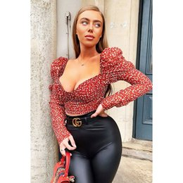Wholesale sexy womens plus size club wear resale online – Sexy Vintage Womens Polka Dot Square neck Long Puff Sleeve Slim Fit Shirt Casual Blouse Crop Top Evening Party Club wear