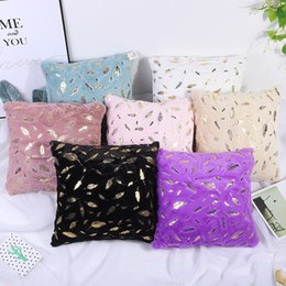 silk pillow covers UK - New Cushion Cover Decorative Pillows Cover Fur Home Decor Plush Pillow Case Decorative Room Seat Sofa Bed Decoration Pillowcases T200624