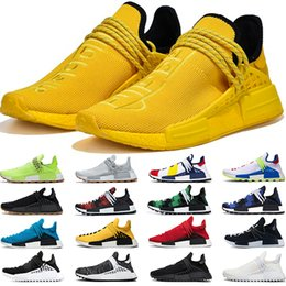 Wholesale Human Race R1 v2 Men Women Running Shoes Pharrell Williams HU White Black Yellow Red Grey Mens Trainers Sports Sneakers Size 36-47