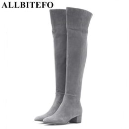 genuine leather over knee boots NZ - ALLBITEFO over the knee genuine leather cow suede medium women winter thick heel snow boots size:33-43 LJ201019