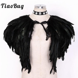 Wholesale short costume capes for sale - Group buy Women Gothic Sleeveless Bolero Short Wrap Tops Natural Feather Shrug Cape with Rhinestone Choker Masquerade Rave Party Costume