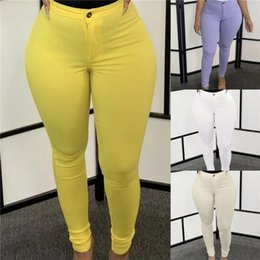 Wholesale female elastic trousers resale online – Plus Size S XL Solid Stretchy Pencil Pants for Women Button Highly Elastic Slim Ankle Length Trousers Female Outfit