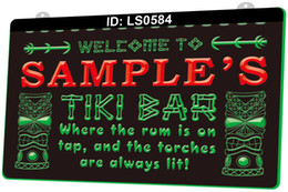 Discount tiki bar signs LS0584 Name Personalized Custom Tiki Bar Beer 3D Engraving LED Light Sign 9 Colors Wholesale Retail Free Design