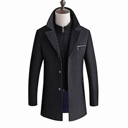 wool pea jacket Canada - Winter Jacket Men Thickening Wool Coat Slim Fit Jackets Fashion Outerwear Warm Man Casual Jacket Overcoat Pea Coat Plus Size 6XL