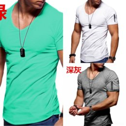 outdoor t shirt designs Australia - OfR Collar T Shirts Fashion Summer T Sleeve Geometric Design Outdoor Turn-down t Shirt Mens Short shirt Cotton T-shirt sport Men