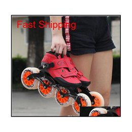 Speed Inline Skates Carbon Fiber 4*90 100 110Mm Competition Skates 4 Wheels Street Racing Skating Patines Similar Powerslide Bzrzs on Sale