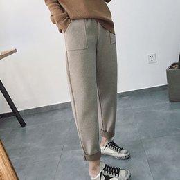 Wholesale casual work pants womens resale online – Solid Plus Size High Waist Wool Pants Female Pockets Casual Work Pants Trousers Korean Autumn Winter Womens Harem Pants