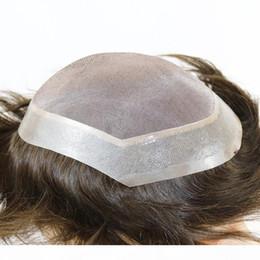 """Ingrosso EVERSILKY 6 """"X8"""" 7 """"X9"""" Parrucche di ricambio per capelli Remy Fine mono con perimetro di pelle sottile perimetro parrucchino di media densità per uomo 3 c"""