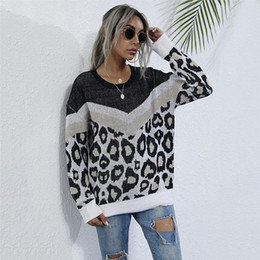 senhoras malha roupas venda por atacado-Autumn Mulheres Tops Casual Camisolas Moda Feminina em torno do pescoço manga comprida Color Block pulôver Knit Sweater Ladies Clothing