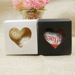 Wholesale muffin tops resale online - 2017 New cm Pack Of White Black Paper Cake Boxes Heart Window Top Cupcake Muffin Box Holds Single Cake Cook Candy Box Christma arjH