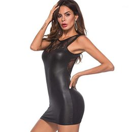 club wear sexy see through dresses Canada - Women Sexy Bodycon Dress PU Leather Sleeveless Dress Backless Lace See through Slim Mini Dresses Club Wear Party Clothing1