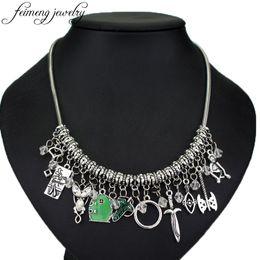 Wholesale green snake movie for sale – custom feimeng jewelry Movie Choker Necklace Elven Leaf Arwen Evenstar Pendant Sword Green Door Locket Star Necklace Fashion Acc