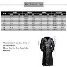 Wholesale mens leather sleeve trench coat resale online - 2019 Autumn Winter Mens Military Uniform Black Artificial Leather Trench Coat