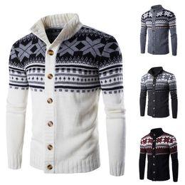 Wholesale long christmas cardigan sweater resale online - Men s Sweater Christmas Print Thick Sweater Long Sleeve Cardigan Male Slim Winter Warm Sweaters Men s Cardigan Sweater