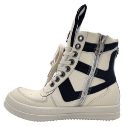 2020ss Exclusive high-top genuine leather dunk geo-basket Boots rivets model quality handmade flats trainer Boots on Sale