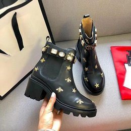 running shoes direct UK - high quality Woman's Leather shoes Lace up Ribbon belt buckle ankle boots factory direct female rough heel round head autumn winter Mar N03