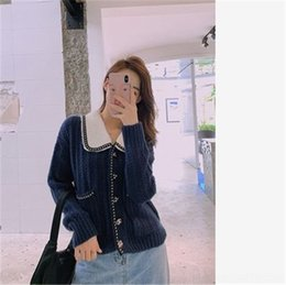 Wholesale cardigans style for women for sale - Group buy 3mqKS Early autumn small fragrant style knitted cardigan for women to lazy short loose wear sweater and Coat style thick thread Lapel sweater