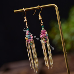 hand woven earrings Australia - 30Pairs Women Colorful Natural Tourmaline Crystal Gemstone Bead Earrings Hand Woven Rhombus Hoop Drop Tassel Dangle Earrings 14K Gold Plated