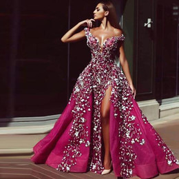 Sexy Arabic Style Fuchsia With 3D Lace Flowers Evening Dresses A Line Off the Sholuder High Front Split Women Celebrity Pageant Gowns on Sale