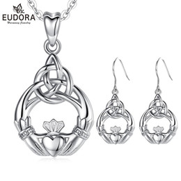 irish jewelry NZ - EUDORA 925 Sterling Silver Good Luck Irish Claddagh Celtic Knot Love Pendant Necklace Earrings Jewelry Sets for Women Party Gift F1219
