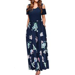 v neck cold shoulder dress UK - Plus Size Dress Women Summer Cold Shoulder Floral Print Maxi Dress Ladies Casual Short Sleeve Pocket Patchwork Sundress Big Size