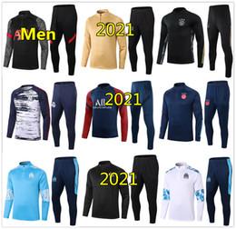 Großhandel 20 21 Marseille Männer Fußball-Trainingsanzug für reale Madrid-Fußballtrainingsanzug 2020 2021 Paris Mbappe survêtement de foot chandal Jogging