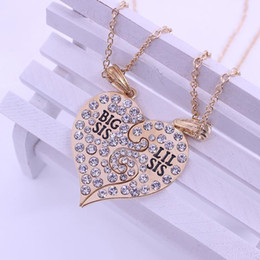 "necklaces best friend forever UK - 2020 2 Pcs Set Crystal Letter ""Big Little Sister"" Necklace For Sisters Best Friends Forever Gold Silver Charm New Jewelry Gifts1"
