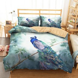 Discount peacock print clothes Bed Cover 3D Home Textile Blue Peacocks Printed Bedding Clothes with Pillowcases King Single Size1