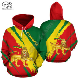 lion hoodies sweatshirt NZ - Men Women Ethiopia Full print 3D Hoodies Funny country flag Sweatshirt Fashion Hooded Long Sleeve zipper unisex lion Pullover Y201006