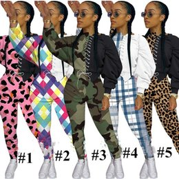 Wholesale two straps t shirts for sale - Group buy Women Bodysuit Tracksuit Camouflage Leopard Two piece Strap Designers Crop T shirt Pullovers Legging Pants Outfit Sportswear E92904