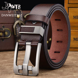 men belt brown NZ - [DWTS]men belt male high quality leather belt men male genuine leather strap luxury pin buckle fancy vintage jeans free shipping