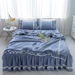 ruffled king bedding set 2021 - Free shipping washed cotton lace princess ruffles bedding set 3 4pcs twin full queen king size bed skirt set MR discount