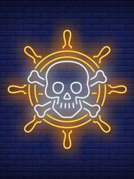 Wholesale neon crosses online – design Neon Sign For Steering wheel With Skull And Crossed Bones Lamp glass tube time resterant decorate light Impact Attract light