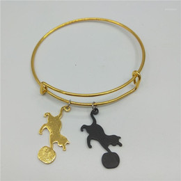 cat bangles 2021 - Lovely Playing Cat Bangles for Women Girl Tinny Pussy Kitten with Ball Design Bangles Statement Jewelry Gift1