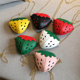 cute travel accessories Australia - Children Small Shoulder Cute Strawberry Mini Diagonal Travel Bag Girls Fruit Accessories Coin Purses Kids Wallet
