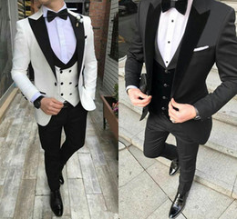 Wholesale 3piece suits for sale - Group buy White Groom Tuxedos Mens Wedding Suits Black Peaked Lapel Man Blazer Piece Slim Fit Male Jacket Trousers Double Breasted Vest Prom Party