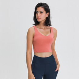 Wholesale L-89 Tank Women Yoga Bra Shirts Sports Vest Fitness Tops Sexy Underwear Solid Color Lady Tops with Removable Cups Yoga Sports Bra Tanks