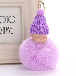 rabbit keyrings fur Canada - Sweet Fluffy Sleeping Pompom Baby Rabbit Toy Faux Key Fur Pom Pon Knitted Car Chain Keyring Keychain Hat Baby Doll Trendy Gifts Deoad