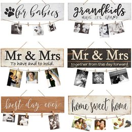 wood signs home decor UK - Diy Wall Hanging Wood Photo Board Picture Display Board Clip Grandkis Home Sweet Home Plaque Sign Rustic Wooden Signs Home Decor