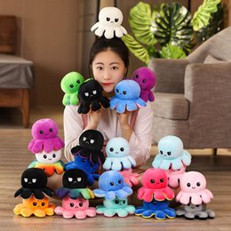 Wholesale red octopus for sale – halloween Reversible Flip Octopus Stuffed Plush Doll Soft Simulation Reversible Plush Toys Color Chapter Plush Doll Child Toys