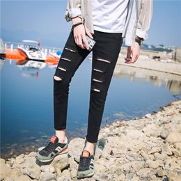 Wholesale jeans words for sale – denim Summer street teenagers handsome casual one word ripped jeans Korean small feet ankle length pants black slim men s pants