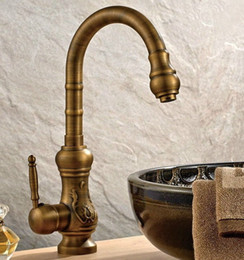 vintage faucet handles Australia - Vintage Antique Brass Single Handle Kitchen Sink Swivel Spout Faucet Mixer Tap Csf001 HloB#