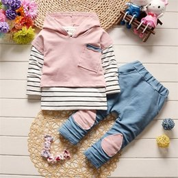 Discount baby patch clothing Fashion Children Boy Girl Clothing Sets Baby Hoodies T-shirt Pants 3Pcs sets Kids Patch Stripe Clothes Toddler Cotton Tr