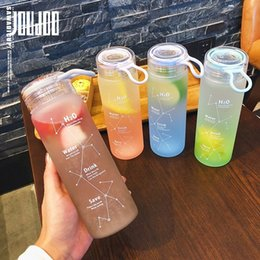 Discount best glass water bottles JOUDOO 460ml Summer Cool Water Bottle Prosted Glass Bottles Women Girl Student Leakproof Drinkware Best Gift 35 201127