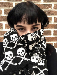 Wholesale black fringe scarf resale online - Italy stylish skull winter knitted unisex women men scarf skeleton acrylic scarf wraps with fringe black LL171011