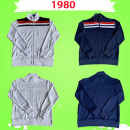 mann blaue anzüge großhandel-England Jacke Retro Trainingsabzug Fussball Trikots Vintage Jogging Suits Football Hemd Home White Away Blue Classic Trainingsanzug
