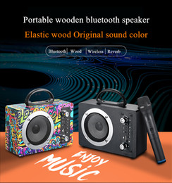 20W Wooden Bluetooth Speaker Wireless Subwoofer Portable Outdoor Wireless K Song Card U Disk Radio Audio With Mic on Sale