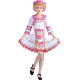miao clothes clothing Australia - women miao hmong suits Classical traditional Chinese folk dance costumes national clothing flower embroidered ethnic stage wear