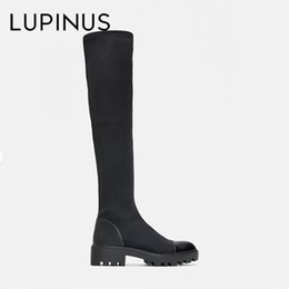 Discount black rubber riding boots LUPINUS Black Stretch Fabric Women Boots Chunky Platform Knee High Boots Riding Round Toe Knee High
